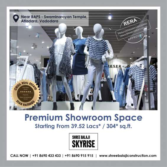 Showrooms & shop with fully glass elevation,