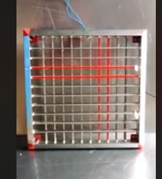 Plastic corner grill in autoswing silver shining & red colour   d-max plastic & fabricati