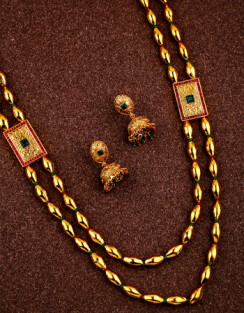 Get gold long necklace designs at affordable cost by anuradha art jewellery