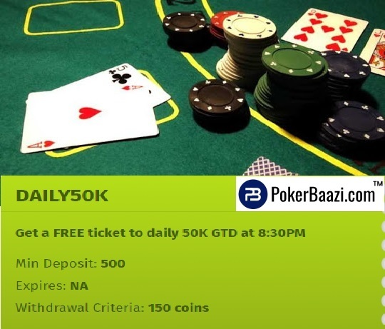 Get a free ticket to play poker online! daily50k gtd tournament  min dep: 500 inr withdrawal criteria: 150 coins download the app now! https://www.pokerbaazi.com/go-mobile
