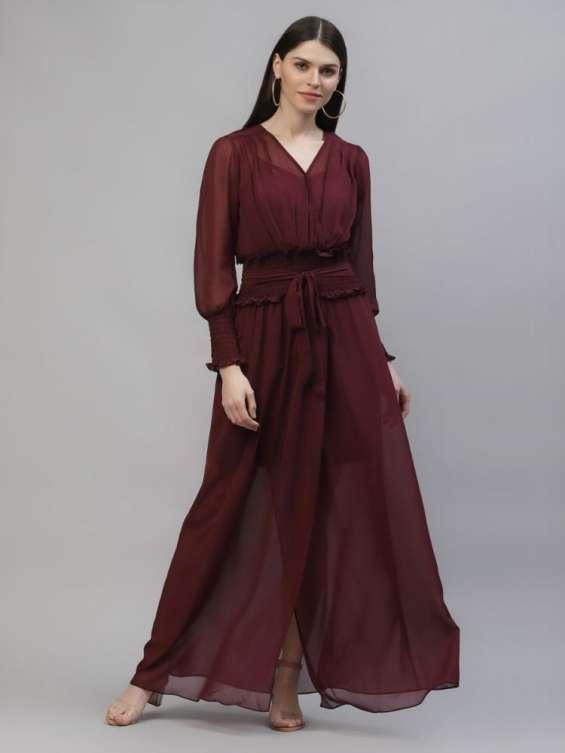 Athena burgundy maxi dresses for women